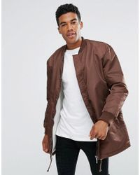 ADPT - Longline Bomber Jacket With Drawstring Hem And Two Way Zip - Lyst