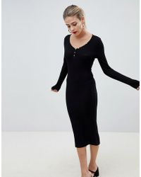69833b2a5e6f8 Lyst - ASOS Long Sleeve Midi Pencil Dress With Button Back in Black