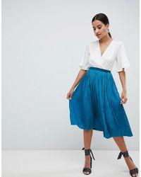 Missguided - Satin Pleated Midi Skirt - Lyst