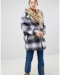 Bellfield - Wool Check Coat With Faux Fur Collar - Lyst