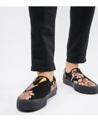 ASOS - Wide Fit Slip On Plimsolls In Black With Floral Print - Lyst