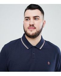 Original Penguin - Big & Tall Space Dye Tipping Polo Slim Fit Embroidered Logo In Navy - Lyst