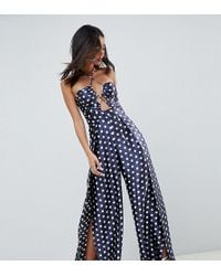 b5def649a8c ASOS - Asos Design Tall Jumpsuit With Cut Out Detail And Halterneck In  Satin Polka Dot