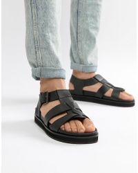 Dune - Chunky Sandals In Black Leather - Lyst