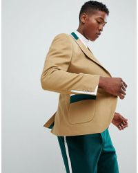 ASOS DESIGN - Skinny Suit Jacket In Tan And Green Cut And Sew - Lyst