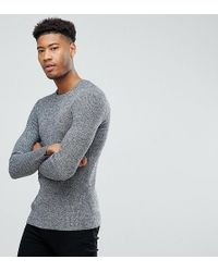 ASOS - Tall Knitted Muscle Fit Rib Sweater In Black & White Twist - Lyst