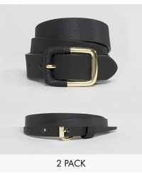 ASOS - 2 Pack Skinny Waist Belt And Jeans Belt Water Based - Lyst