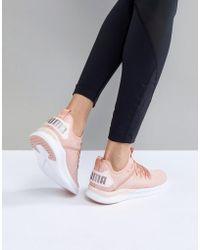 PUMA - Running Ignite Flash Evoknit Satin Sneakers In Dusky Pink - Lyst