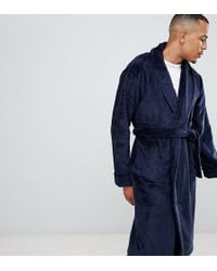 French Connection - Tall Fleece Dressing Gown In Navy - Lyst