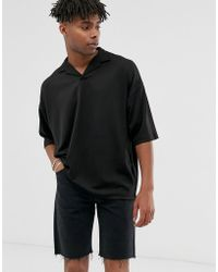 ASOS - Oversized Polo Shirt With Revere Collar In Scuba - Lyst