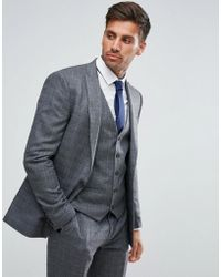 River Island - Skinny Fit Suit Jacket In Dark Grey Check - Lyst