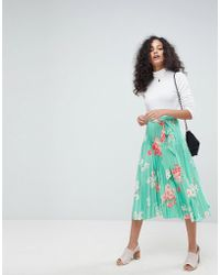 ASOS - Pleated Midi Skirt With Belt In Floral Print - Lyst