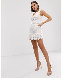 Love Triangle Lace Mini Skirt With Frill In White