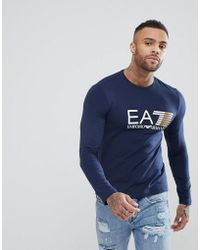 EA7 - Slim Fit Stretch Long Sleeve Chest Logo Top In Navy - Lyst