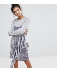 Mad But Magic - Cami Dress With Frills In Crushed Velvet - Lyst