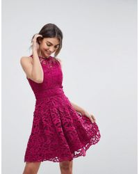 Adelyn Rae - Dylan Lace Fit And Flare Dress - Lyst