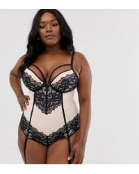 Simply Be Lace Body With Cup Strapping And Suspender Belts In Black And Blush