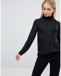 ASOS - Design Top With Ruched High Neck - Lyst