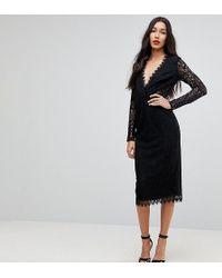 ASOS - Long Sleeve Lace Midi Pencil Dress - Lyst