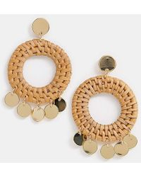 Orelia - Gold Plated Raffia Woven Coin Statement Earring - Lyst