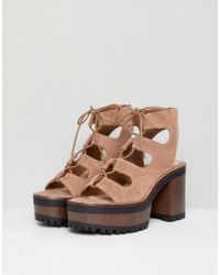Pull&Bear - Lace Up Front Heel In Tan - Lyst