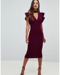 Girl In Mind - V Neck Midi Dress With Frill Detail - Lyst