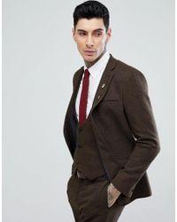 ASOS - Slim Suit Jacket In Tan Wool Mix Twill - Lyst