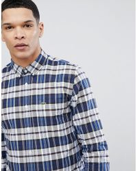 Lacoste - Check Logo Shirt In Navy - Lyst