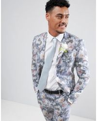 Boohoo - Wedding Skinny Fit Suit Jacket With Floral Print In Multi - Lyst