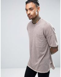ASOS - Oversized T-shirt With Wide Kimono Sleeves And Curved Hem And Side Splits In Brown Wash - Lyst