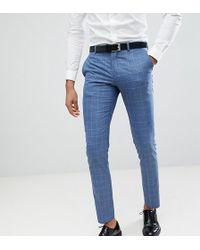 SELECTED - Skinny Fit Suit Trousers In Navy Grid Check - Lyst