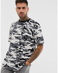 Bershka - Oversized T-shirt With Camo Print In Grey - Lyst
