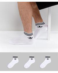 Adidas Originals | 3 Pack Ankle Socks In White Az6288 | Lyst