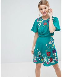 ASOS - Ultimate Embroidered Cut Out Mini Tea Dress - Lyst