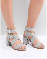 Office - Miles Gray Suede Buckle Block Heeled Sandals - Lyst