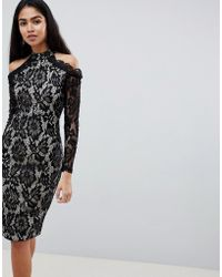 AX Paris - Long Sleeve Lace Pencil Dress With Cold Shoulder - Lyst