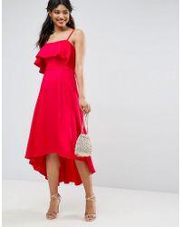 ASOS - Crop Ruffle Soft Midi Prom Dress - Lyst