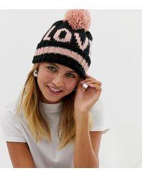 New Look - Love Slogan Bobble Hat In Black Pattern - Lyst