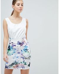 AX Paris - 2-in-1 Dress With Floral Skirt - Lyst