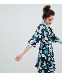 Monki - Tropical Bird Print Wrap Mini Dress - Lyst