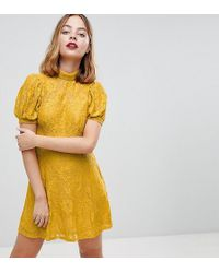 ASOS - Mini Lace Dress With Puff Sleeve - Lyst