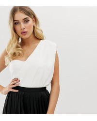 Missguided - One Shoulder Drape Bodysuit In White - Lyst
