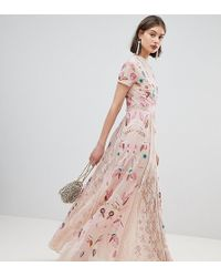 d5a4fd52 Frock and Frill - Allover Embroidered Plunge Front Maxi Dress - Lyst