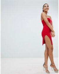 Fashionkilla - Strapless Mini Dress With Thigh Split - Lyst