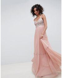 Needle & Thread - Vestito lungo in tulle ricamato rosa vintage con spalline sottili - Lyst