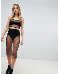 Honey Punch - Midi Skirt In Sheer Metallic Two-piece - Lyst