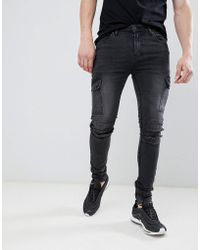 ASOS - Jean style motard coupe super skinny avec poches cargo - Lyst