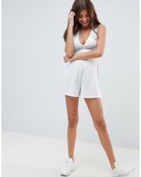 2c8abed14c ASOS - Romper With Tie Back Detail And Plunge Front - Lyst