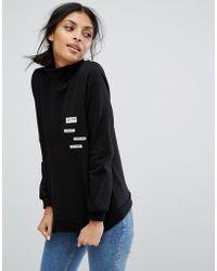 Vila - High Neck Sweatshirt With Badges - Lyst