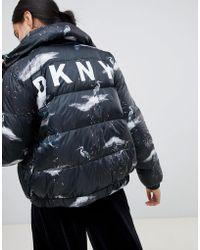 DKNY - Crane Print Logo Padded Jacket - Lyst